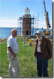 (L to R) Mark Robinson & Stephen Jones were responsible for constructing Avery Point's new lantern (Photo by Bob Trapani, Jr.)