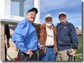 (L to R) APLS co-Chairman Jim Streeter, Stephen Jones & APLS member  Ron Foster atop the lighthouse (Photo by Bob Trapani, Jr.)