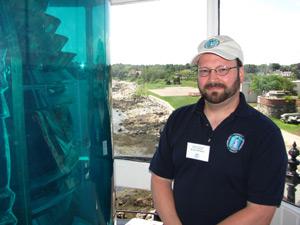 Volunteer Robert Kearns inside lantern room