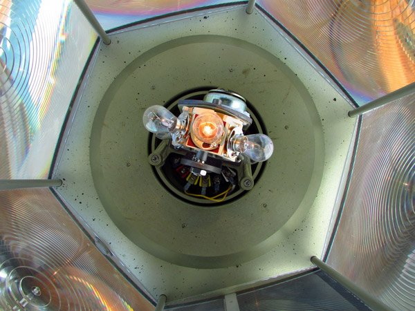 A view inside the VRB-25 rotating beacon at Little River Lighthouse (Photo by Bob Trapani, Jr.)