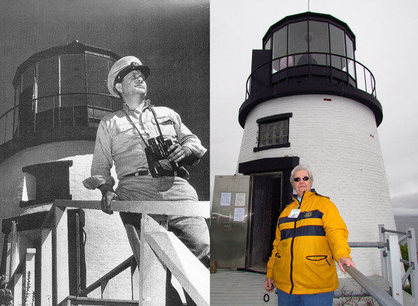Owls Head lightkeeper Archford V. Haskins and his daughter Marla Rogers who volunteers at Owls Head Lighthouse today (Photos courtesy of Marla Rogers & Bob Trapani, Jr. respectively)