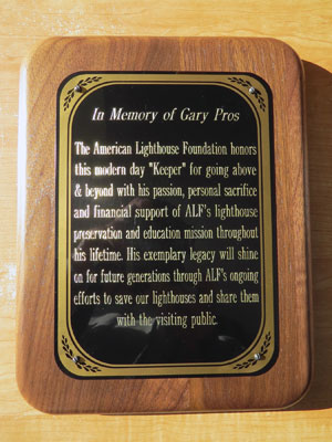 A plaque in honor of Gary Pros will be displayed inside the keeper's house at Owls Head Light Station. (Photo by Bob Trapani, Jr.)