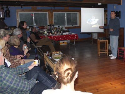 ALF Executive Director Bob Trapani, Jr. gave a presentation on the exterior restoration of the keeper's house at Perkins Island Light Station.  (Photo by Ann-Marie Trapani)