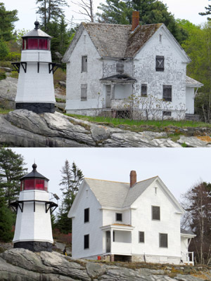 A before & after view of the keeper's house at Perkins Island Light Station. (Photos by Bob Trapani, Jr.)