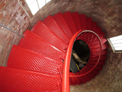 Terry Rowden did a superb job repainting the staircase in Little River Lighthouse. (Photo by Bob Trapani, Jr.)