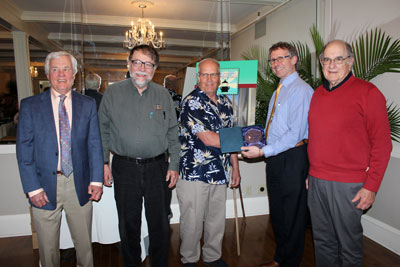 "Presentation of the ""President's Award"" to Terry Rowden at the 2016 ALF Gala. (L to R) ALF 2nd VP Brad Coupe, ALF Treasurer Alan Ells, Terry Rowden, ALF President Eric Davis and ALF Secretary Marty Welt. (Photo by Dominic Trapani)"
