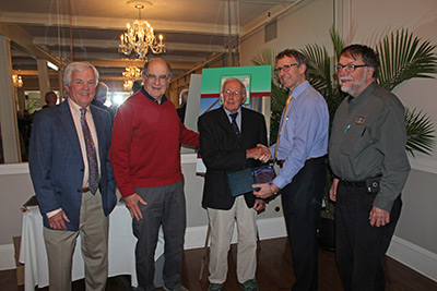 "Presentation of the ""President's Award"" to Bob Kline at the 2016 ALF Gala. (L to R) ALF 2nd VP Brad Coupe, ALF Secretary Marty Welt, Bob Kline, ALF President Eric Davis and ALF Treasurer Alan Ells. (Photo by Dominic Trapani)"