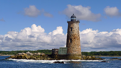 Whaleback Lighthouse stands sentinel at the mouth of the Piscataqua River in Kittery, Maine. (Photo by Jeremy D'Entremont)