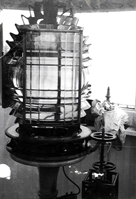 A clockwork mechanism rotated Little River's Fresnel lens.